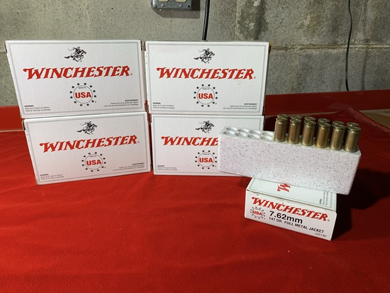 4 Full Boxes of Winchester 7.62mm 147 Grain Full Metal Jacket Ammunition.  Additional Half Box