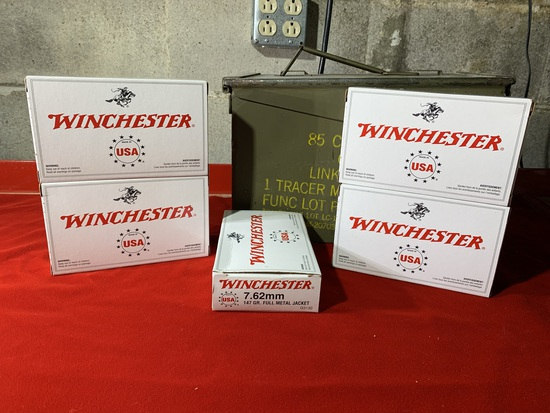 5 Boxes of Winchester 7.62mm 147 Grain Full Metal Jacket Ammunition with Ammo Case