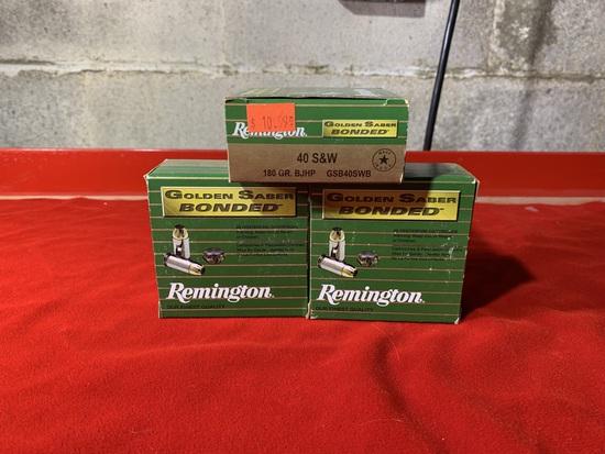 3 Boxes of Remington Golden Saber Bonded 40 S&W 180 Grain Ammunition