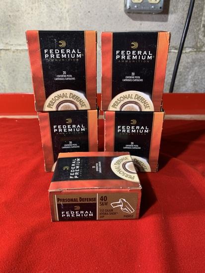 5 Boxes of Federal Premium 40 S&W 155 Grain Hydra-Shok Ammunition