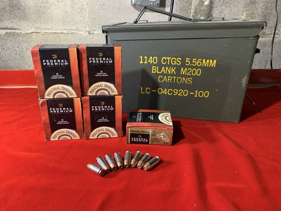 5 Boxes of Federal Premium 40 S&W 155 Grain Hydra-Shok Ammunition with Additional Loose Rounds