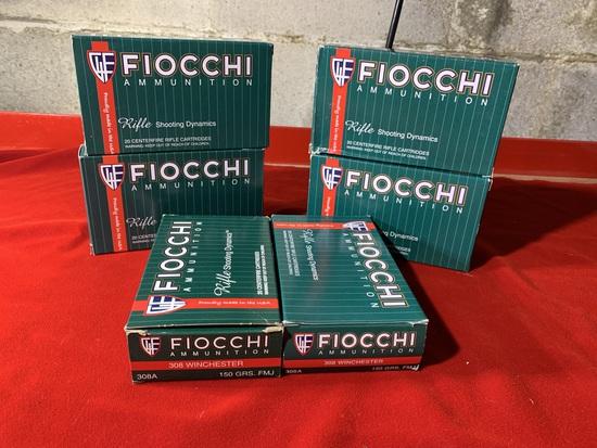 6 Boxes of Fiocchi 308 Winchester 150 Grain Ammunition