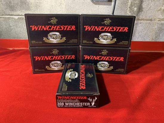 5 Boxes of Winchester Ballistic Silvertip 308 Winchester 168 Grain Ammunition