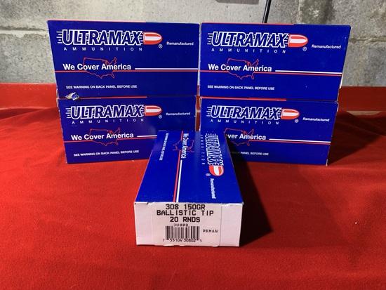 5 Boxes of Ultramax 308 150 Grain Ballistic Tip Ammunition