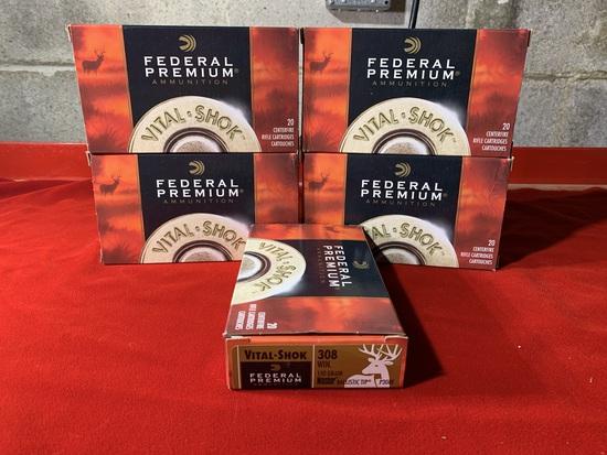 5 Boxes of Federal Premium Vital Shok 308 150 Grain Ballistic Tip Ammunition