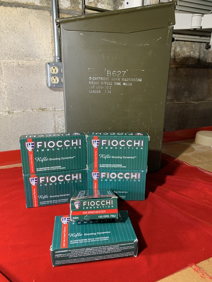6 Boxes of Fiocchi 308 Winchester 150 Grain Ammunition with Ammo Box