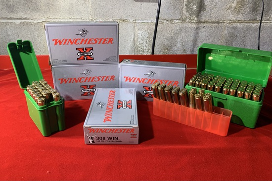 4 Boxes of Winchester 308 180 Grain Ammunition with 3 Plastic Ammo Cases of 308 Ammunition