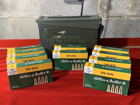 10 Boxes of Lellier & Bellot 308 180 Grain Ammunition with Ammo Case