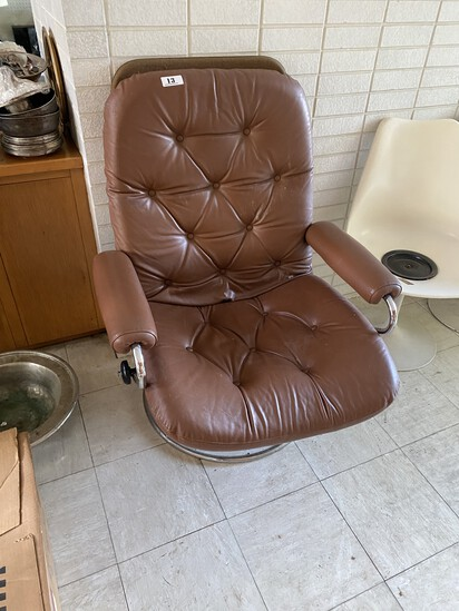 Vintage Made in Norway Retro Leather and Chrome Armchair
