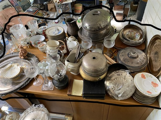 Large lot of assorted silverplate, china etc