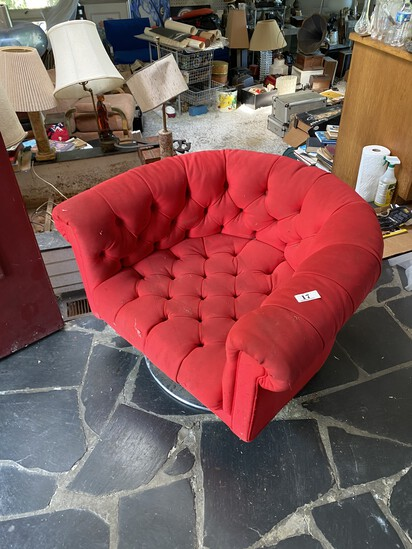 Vintage Mid Century Modern Chrome and Upholstered Chair