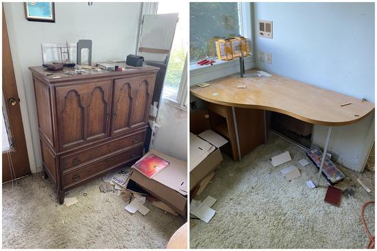 Smaller Armoire Cabinet plus Kidney Desk