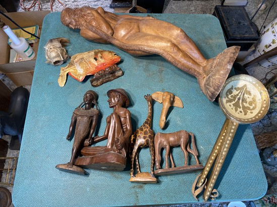 Group lot of Carved Wood, Tribal and International items