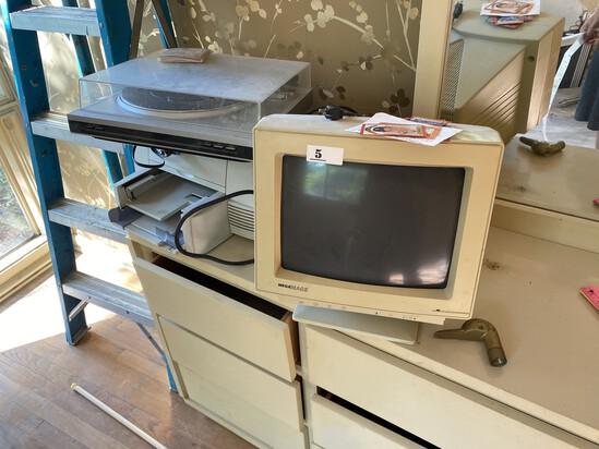 Monitor, printer, turntable, goose cane handle lot