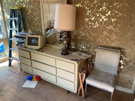 Dresser with mirror, Mid century Modern Chrome Chair