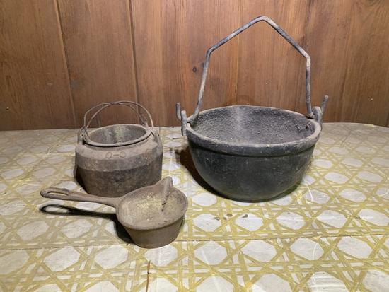 Cast Iron Lead Pot & Small 8 inch Hanging Cauldron