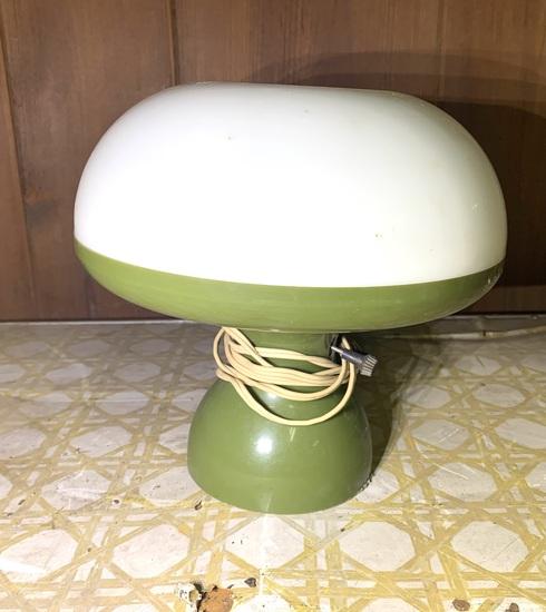 Vintage MCM Avocado Colored Mushroom Lamp