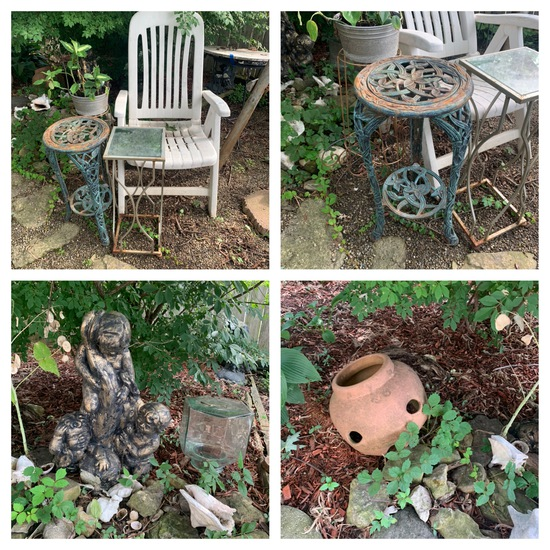 Resin Chair, Statue, Shells & More. See photos.