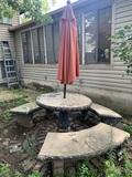 Concrete Patio Table with 3 Concrete Benches & Umbrella