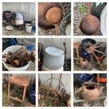 Galvanized Tub, Lawn Wagon, Cast Iron & More.  See Photos