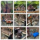 Assortment of Bird Houses, Bird Feeders, and Decorative Yard Items