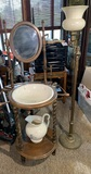 Antique Washstand with pitcher, Bowl & Floor Lamp
