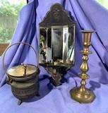 Brass Candlestick, Cast Iron Cauldron & Mirrored Back Candle Holder