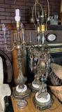 3 Ornate Lamps and Metal School Desk