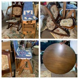 Sewing Rocker, Chair, Foot Stool, & Coffee Table