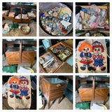 3-Tier Wooden Sewing Caddy with Contents, Buttons, 1976 Raggedy Ann & Andy Cloth Calendar