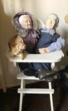 Ceramic Dolls & Doll High Chair