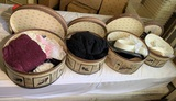 4 Hat Boxes with Hats, Gloves & Scarves