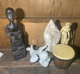 3 Statues, 1 Wood Carving & Hand Drum
