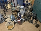 Great Group of Small Fountains, Lamps, Disco Ball, Rope Lights, Blue Glassware, Stemware, Rug & More