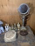 Dresser Mirror, Vintage Purse, Fur Hat &  Perfume