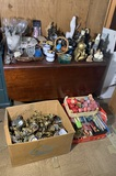 Drop Leaf Table, Decorative Items, Rattle Snake Head, Group of Brass Items, Candles & More