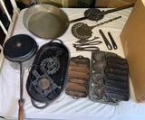 Great Group of Cast Iron Items - Cast Iron Cornbread Muffin Pans, Primitive Tools & More