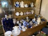 Large Assortment of Glassware - Tea Pots, Delft, Salt & Pepper Shakers, Sonata Royal Vienna China