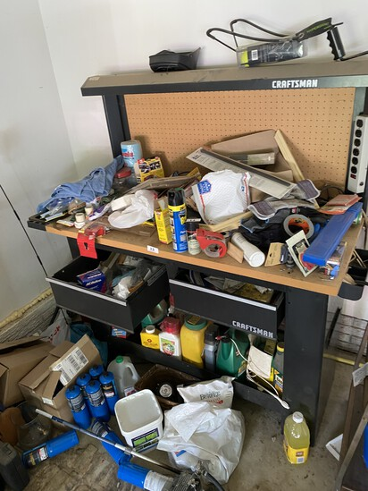 Items on and around work bench lot