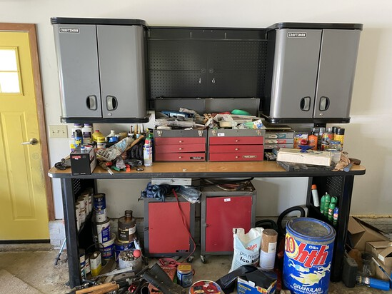 Large craftsman workbench with cupboards