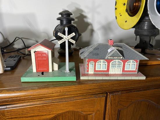 2 tin litho Model Railroad scenery pieces