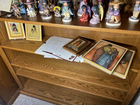 Shelf lot of DeGrazia Art pieces and more