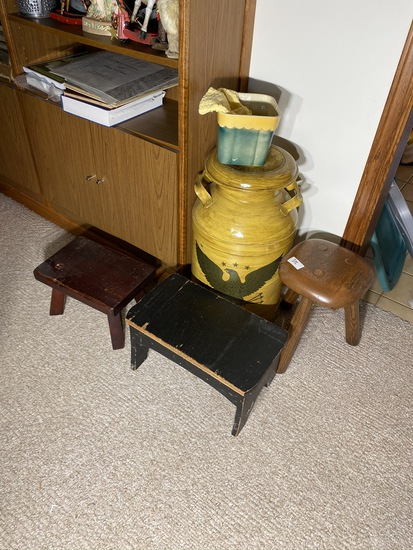 3 stools, milk can and Shawnee planter lot