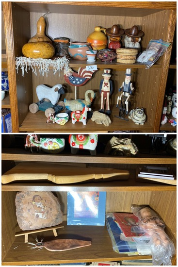 4 Shelves of Figurines, pottery and more