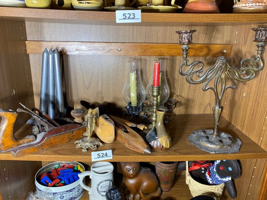 Shelf lot of antiques and more