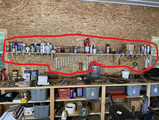 Tools along and under wall shelf lot
