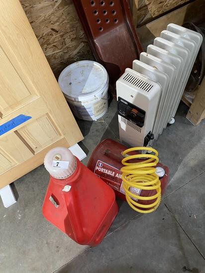 Heater, car ramps, air tank, gas tank lot