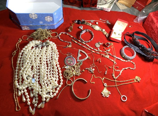 Great Group of Costume Jewelry Including Some Sterling