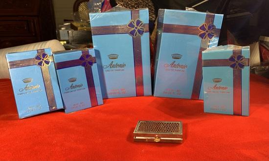 5 Vintage Boxes of Antonio Perfume & Pill Box