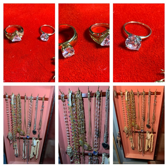 Group of Costume Rings & Costume Necklaces (1 Necklace is Sterling)